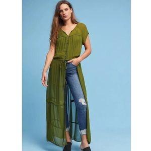 Maeve | Anthropologie Green Sheer Maxi Dress